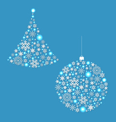 fir tree and xmas ball vector image