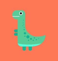 Flat icon on background cartoon dinosaur vector