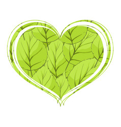 Foliage in the form of heart on a white background vector