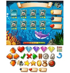 Game template with underwater scene vector image
