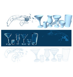 Glasses and drinks vector