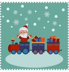 Greeting card with happy Santa vector image