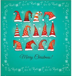 greeting christmas card with collection red vector image