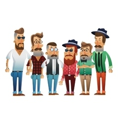 Group of hipster men cartoon design vector