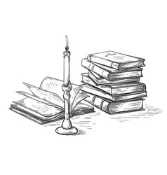 Handmade sketch death concept old books near vector