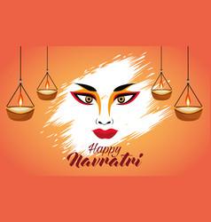 Happy navratri celebration with goddess amba face vector