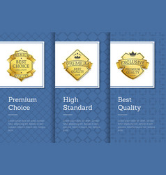 high standard premium choice best quality emblem vector image