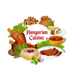 Hungary cuisine hungarian meals round frame vector