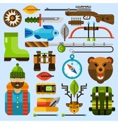 Hunting and Fishing Icons Set vector image