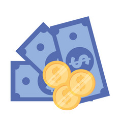 Isolated coins and bills design vector