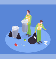 isometric garbage collect composition vector image