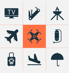 Journey icons set with aircraft oxygen cylinder vector