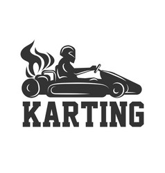 Karting logo racing sport car with driver in vector