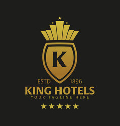King hotel logo and emblem logo vector