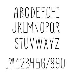 latin alphabet grunge line decorative font vector image