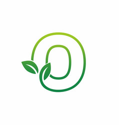 letter o leaf growing buds shoots logo icon vector image
