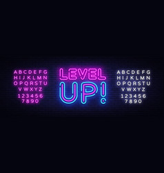 level up neon text level up neon sign vector image