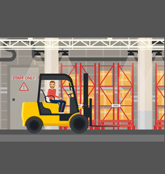 loader or truck with forklift at warehouse vector image