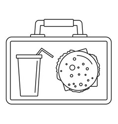 lunch bag icon outline style vector image
