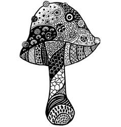 Magic mushroom amanita doodle black isolated vector