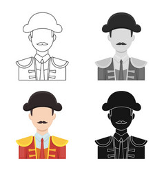 Matador icon in cartoon style isolated on white vector