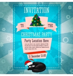 Merry Christmas cute retro party invitation or vector image
