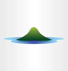 Mountain island in ocean abstract symbol design vector
