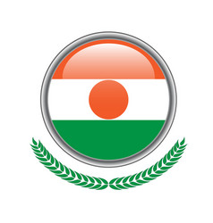 Niger flag button niger flag icon of niger flag vector