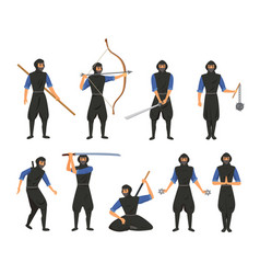 ninja fighter black cloth character warrior vector image