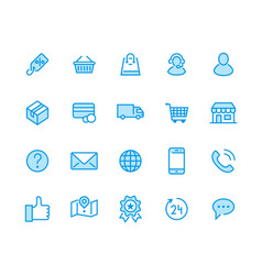 online shopping flat line icons e-commerce vector image