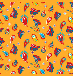 paisley yellow indian seamless pattern vector image