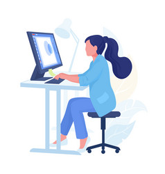 Person working from home cartoon character with vector