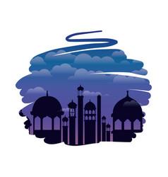 Ramadan kareem mosque building with landscape vector