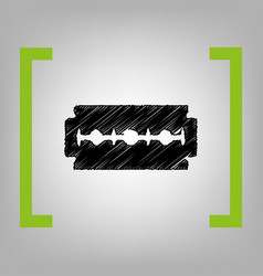 razor blade sign black scribble icon in vector image