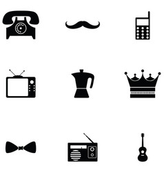 retro icon set vector image