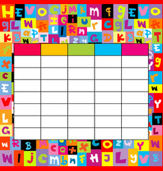 School timetable on letters background vector