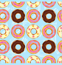 seamless pattern with donut pink chocolate lemon vector image