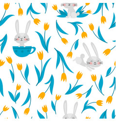 seamless pattern with rabbits and tulips on vector image