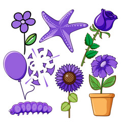 set flowers and animals in purple vector image