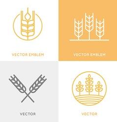 set logo design templates in trendy linear vector image