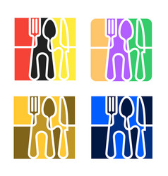 set logo for cafe or restaurant made forks vector image