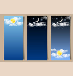 Set of day and night sky banners vector