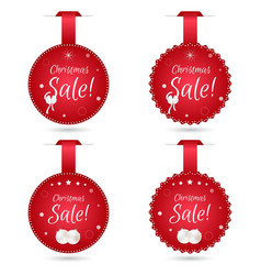 Set of four round festive Christmas coupon tags vector image