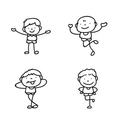 Set of hand drawing abstract happy cute boys line vector