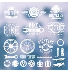 Set of vintage bike shop labels color vector image