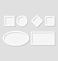 set of white torn paper frames with vector image