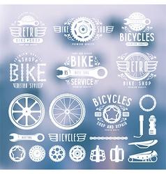 set vintage bike shop labels color vector image