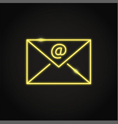 shining neon email symbol in line style vector image