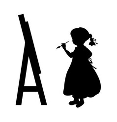Silhouette girl artist paints on canvas vector