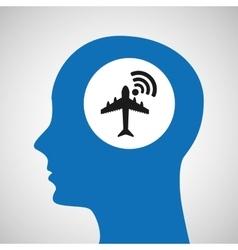 Silhouette head airport wifi icon vector
